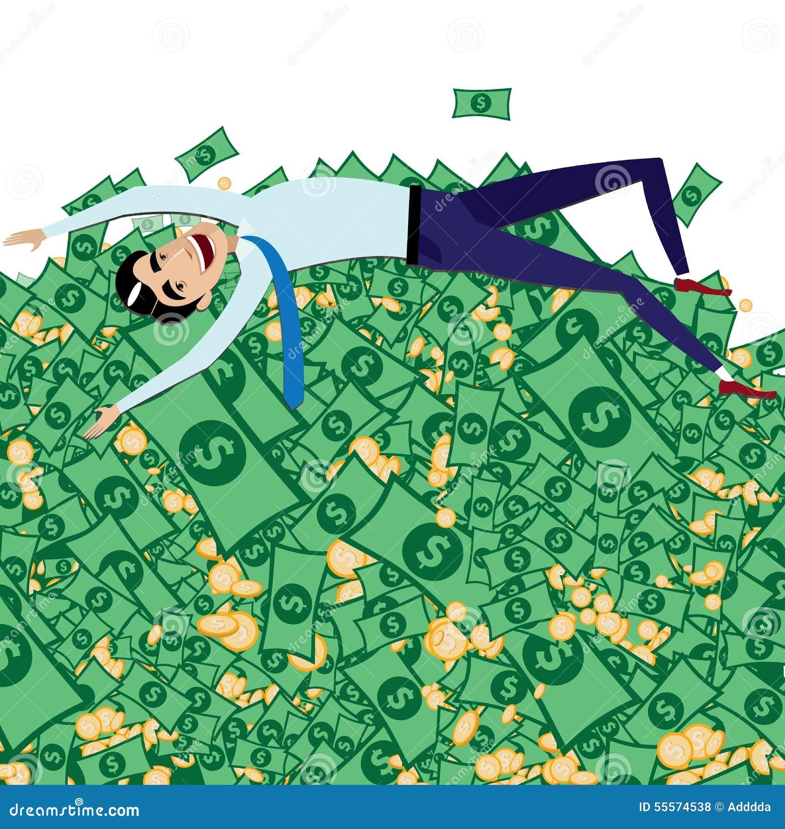 happy businessman lying on big pile of money stock illustration rh dreamstime com Money in Hand Clip Art Money Clip Art Black and White