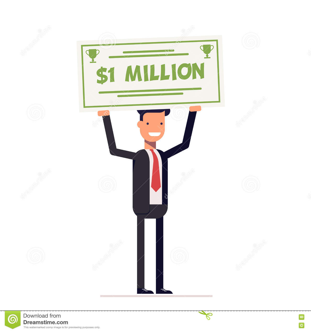 Happy Businessman Or Manager Holding Large Check Of One Million Dollar In Hands Smiling Man Vector Illustration Eps10 Stock Vector Illustration Of Lottery Bank 80165441