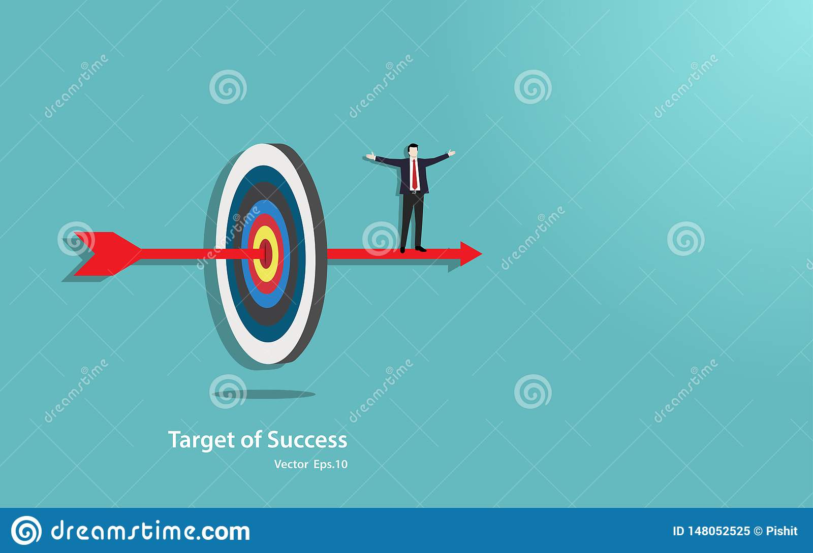 Happy businessman stand on arrow penetrate in the target center of success