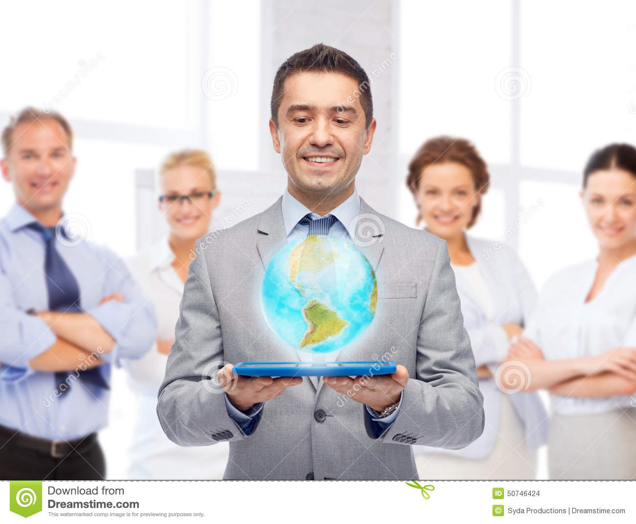 Technology Management Image: Happy Businessman In Suit Holding Tablet Pc Stock Photo