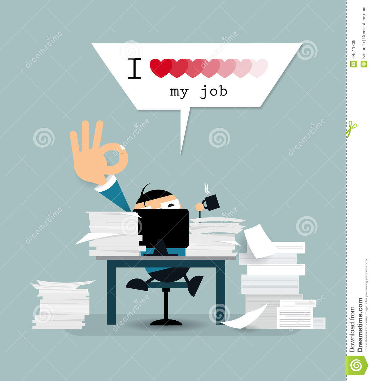 Happy Businessman Is Working Hard With Text I Love My Job Stock Vector