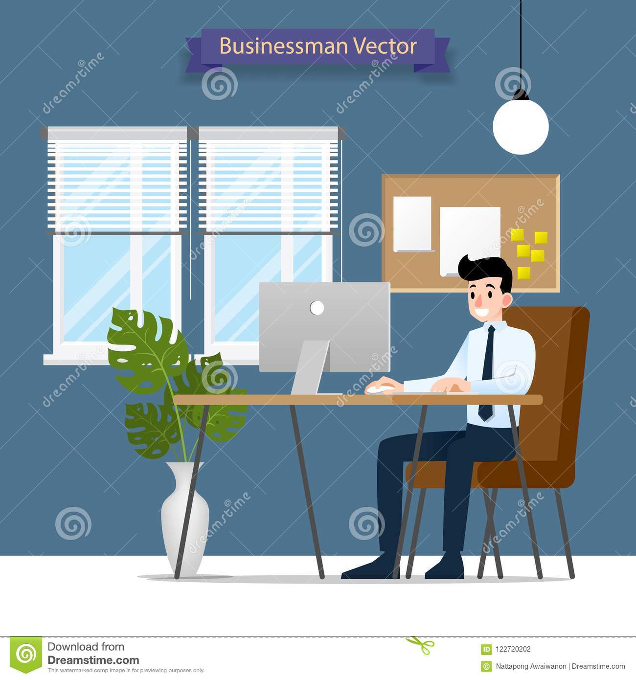 Happy businessman working on a personal computer, sitting on a brown leather chair behind the office desk. Vector Flat style Illus