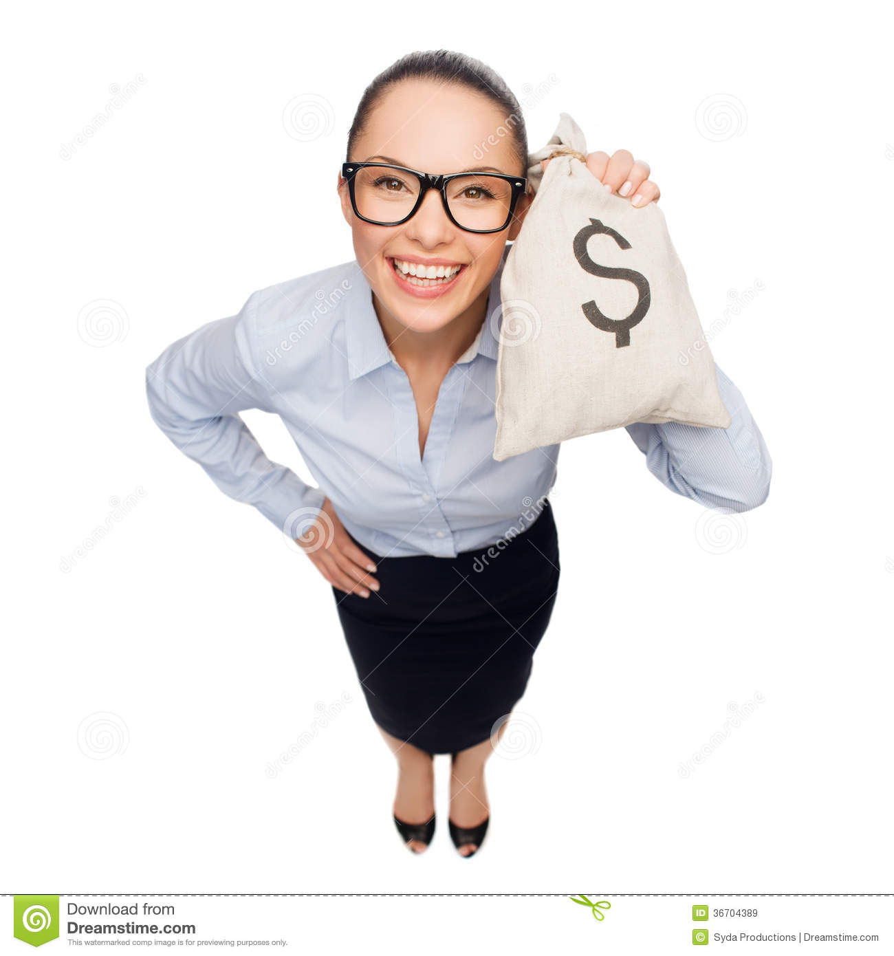 Happy Businesswoman Holding Money Bag With Dollar Stock ...