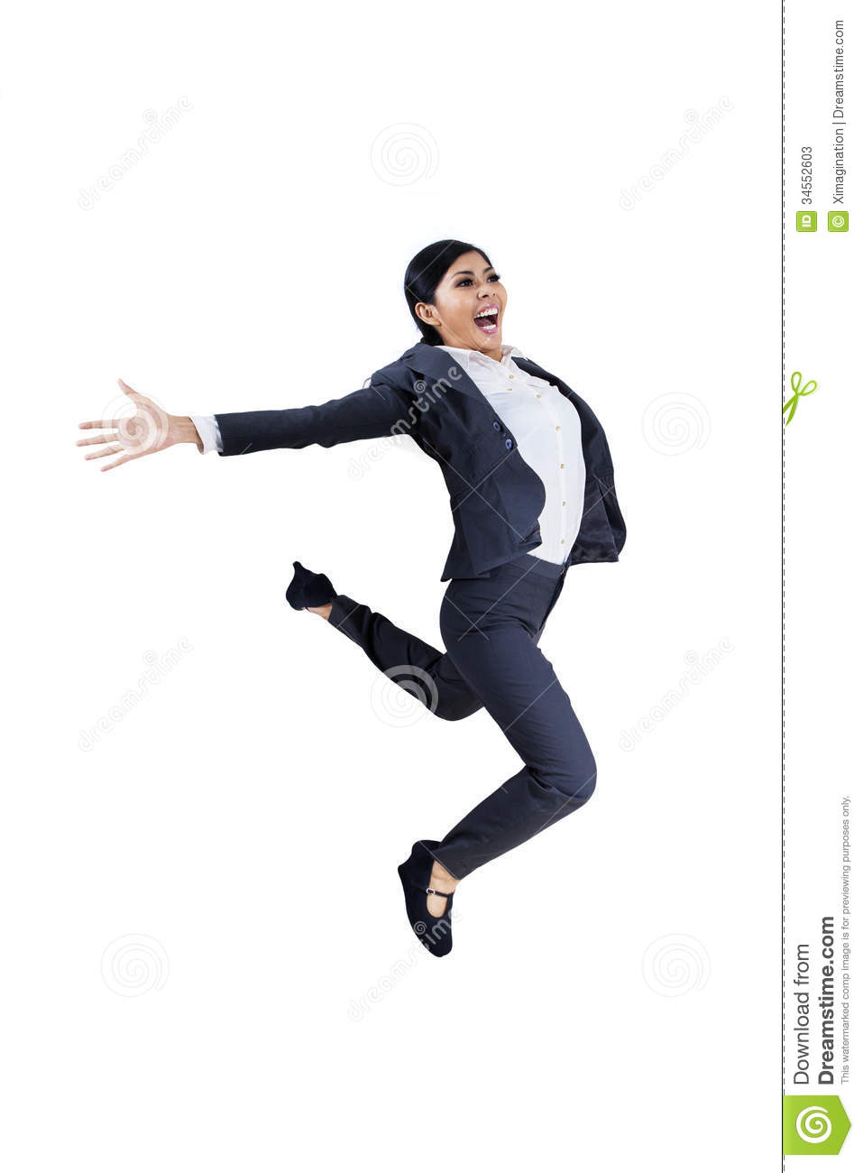 happy businesswoman jumping   isolated stock photos