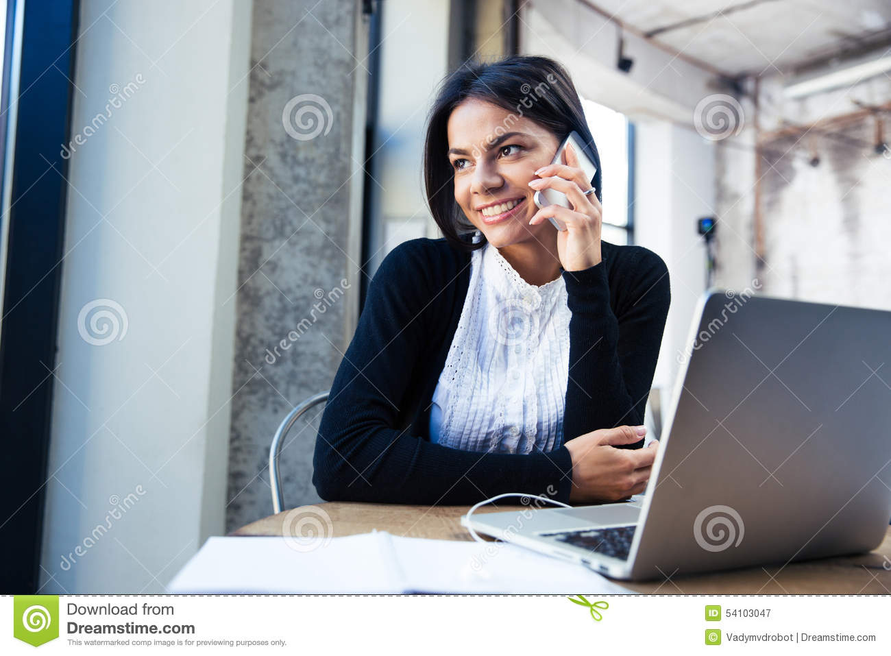 Happy Businesswoman Talking On The Phone Stock Image Image