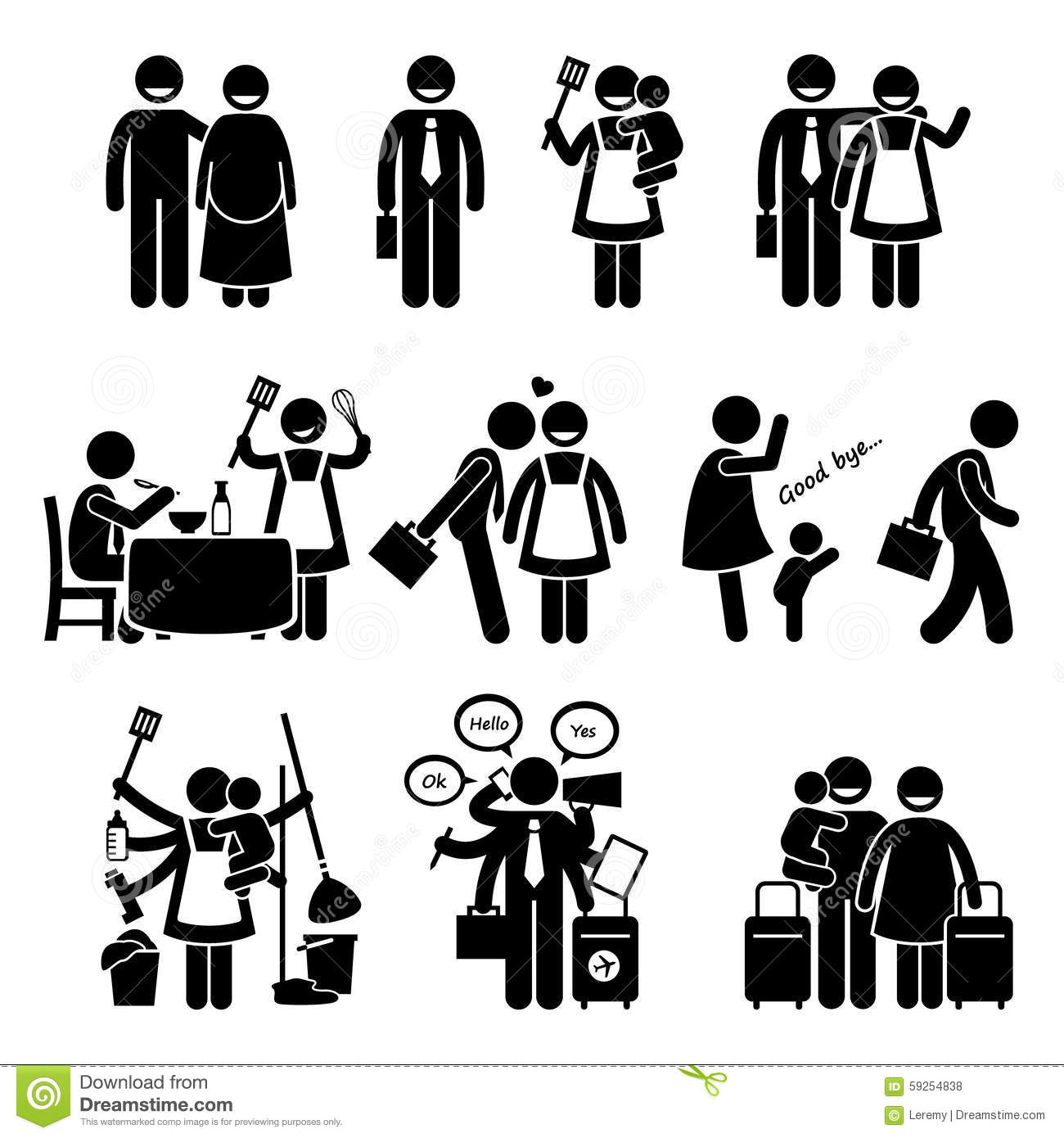 Stock Illustration Happy Busy Family Husband Wife Cliparts Human Pictogram Stick Figures Showing How Lifestyle Love Each Image59254838 on leremy