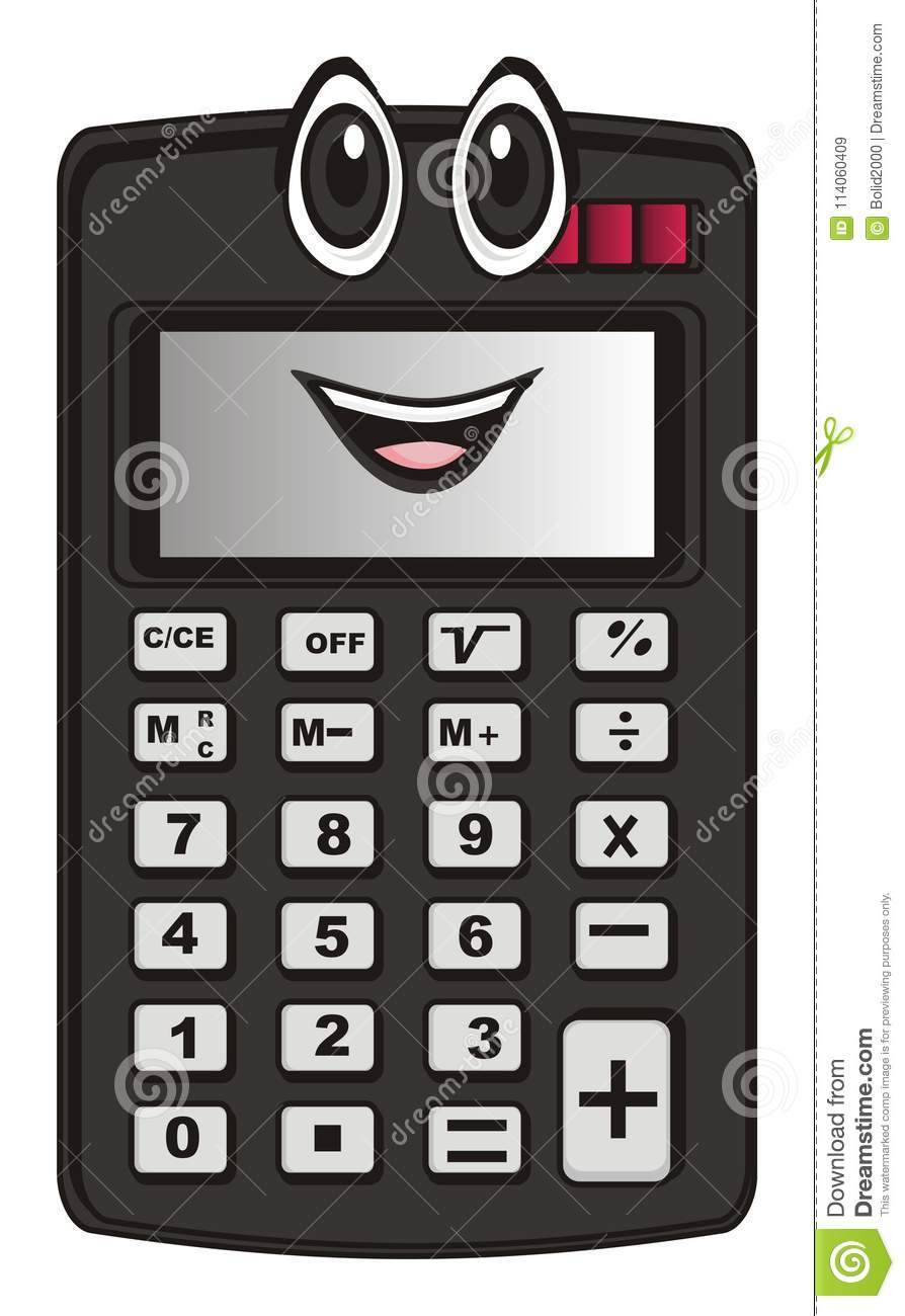 Funny black calculator stock illustration  Illustration of