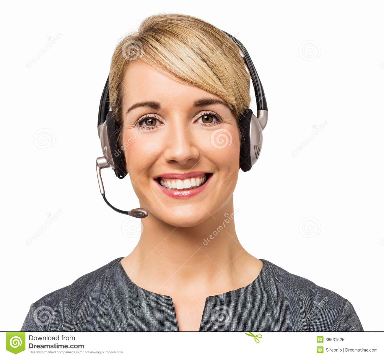 Happy Call Center Representative Wearing Headset Royalty Free ...