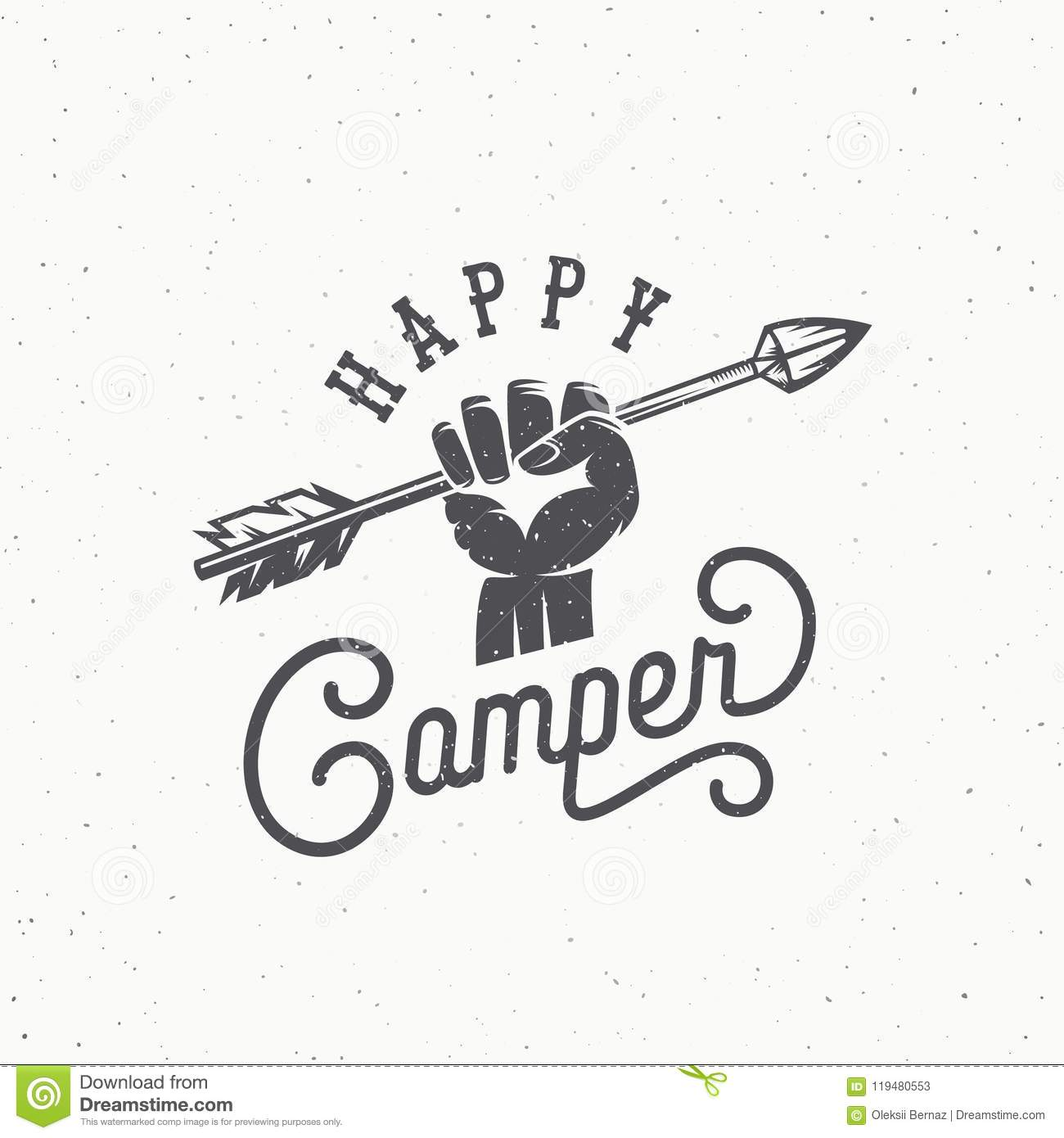 Download Happy Camper Abstract Vintage Vector Sign Symbol Or Logo Template Arrow In The