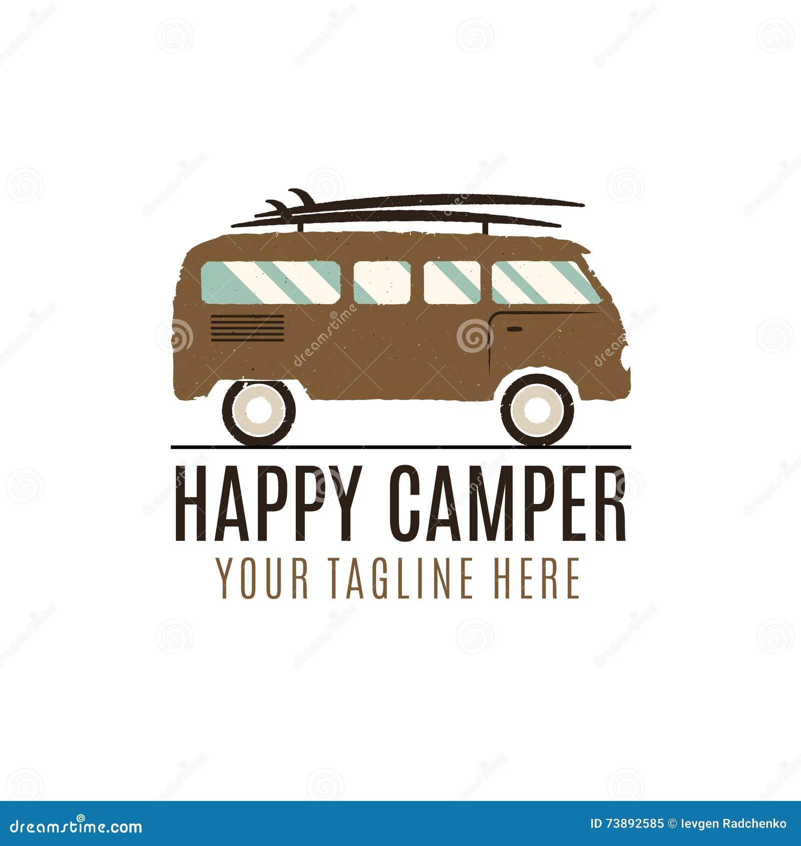 Happy Camper Logo Design. Vintage Bus Illustration. RV