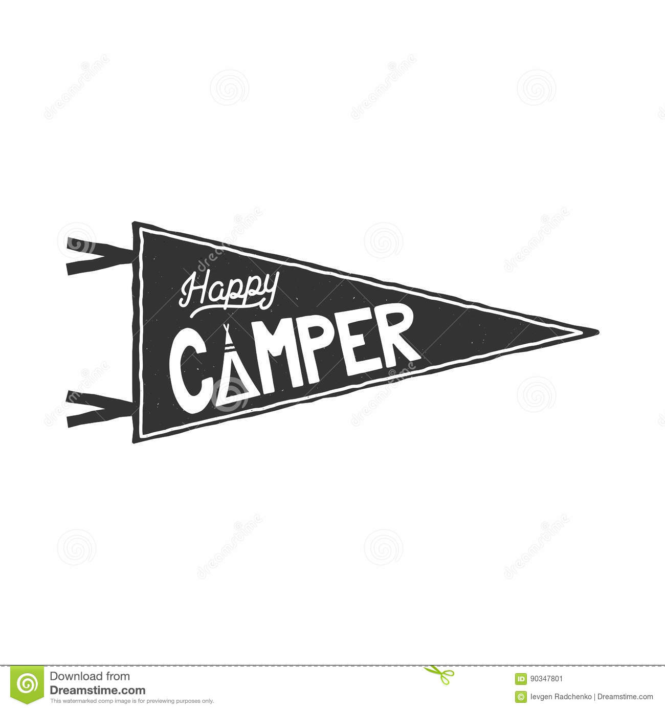 Happy camper pennant template. Typography design and outdoor activity symbol - tent. Monochrome. Vector isolated on