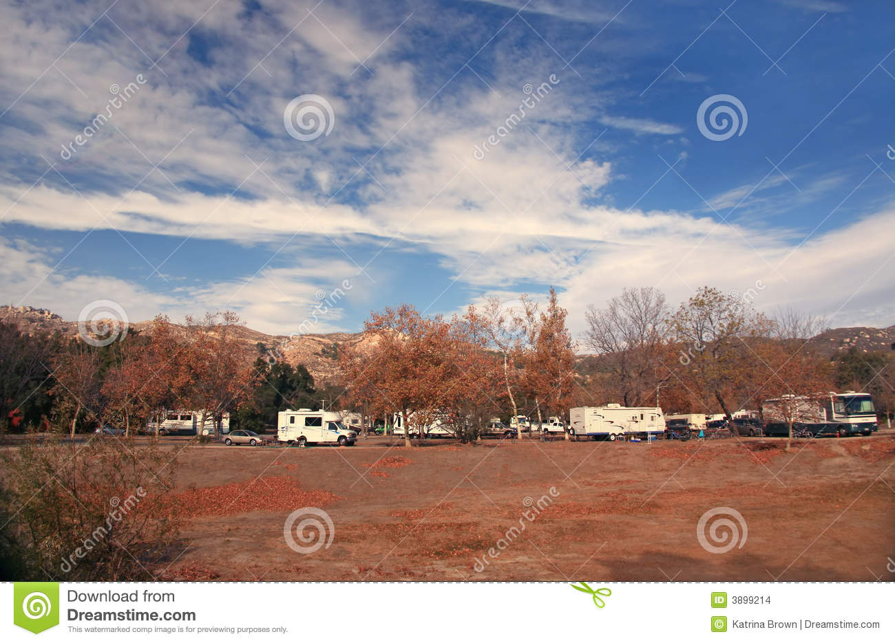 Happy Campers In An RV Park Stock Photo - Image of bright