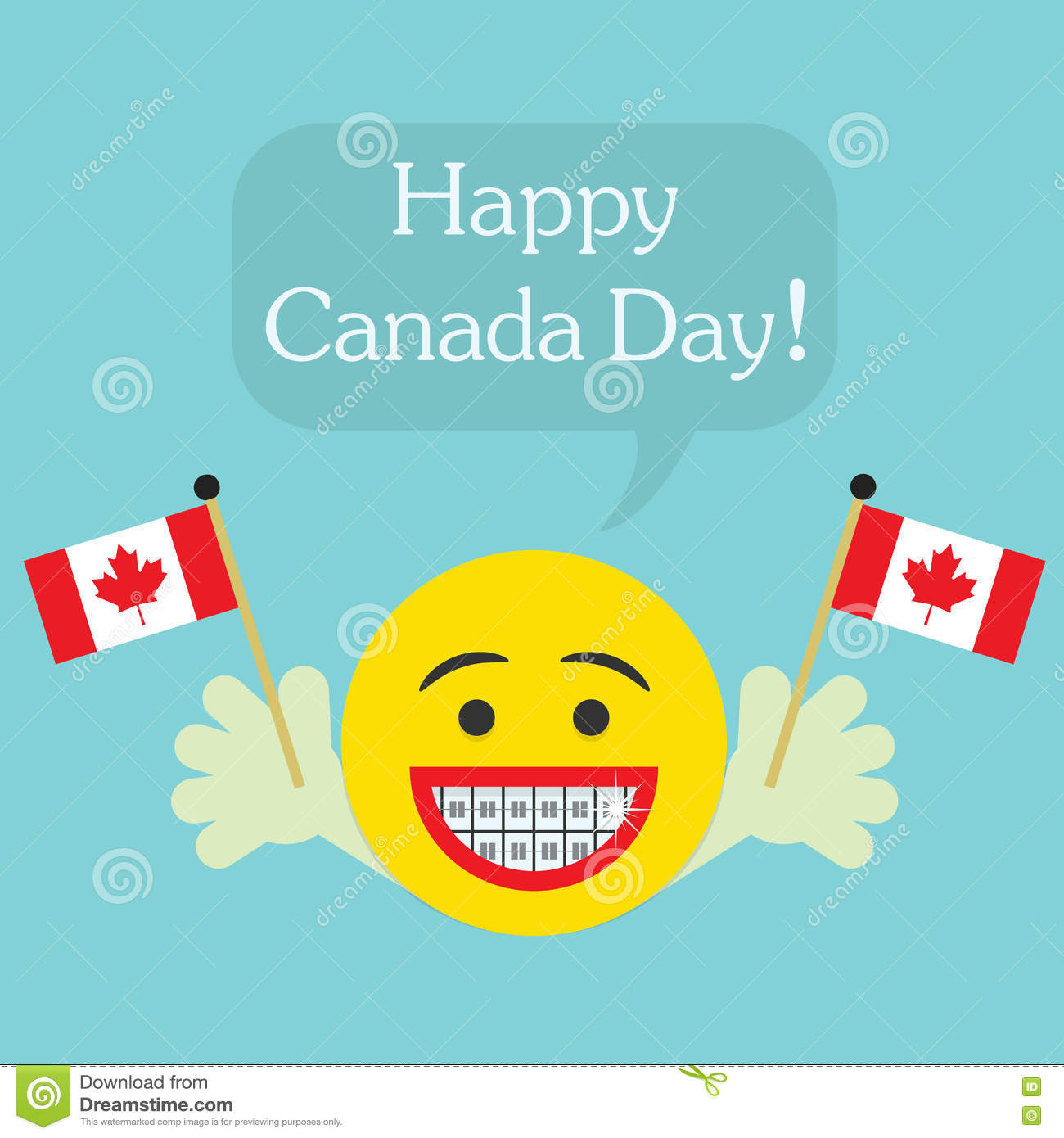Happy Canada Day! smiley face icon with big smile and orthodontics teeth