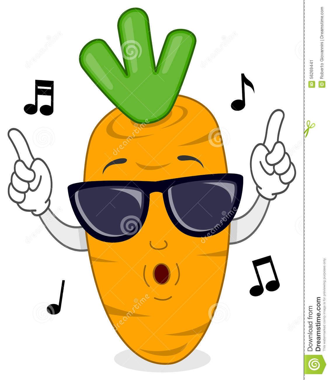 Happy Carrot Whistling With Sunglasses Stock Vector ...