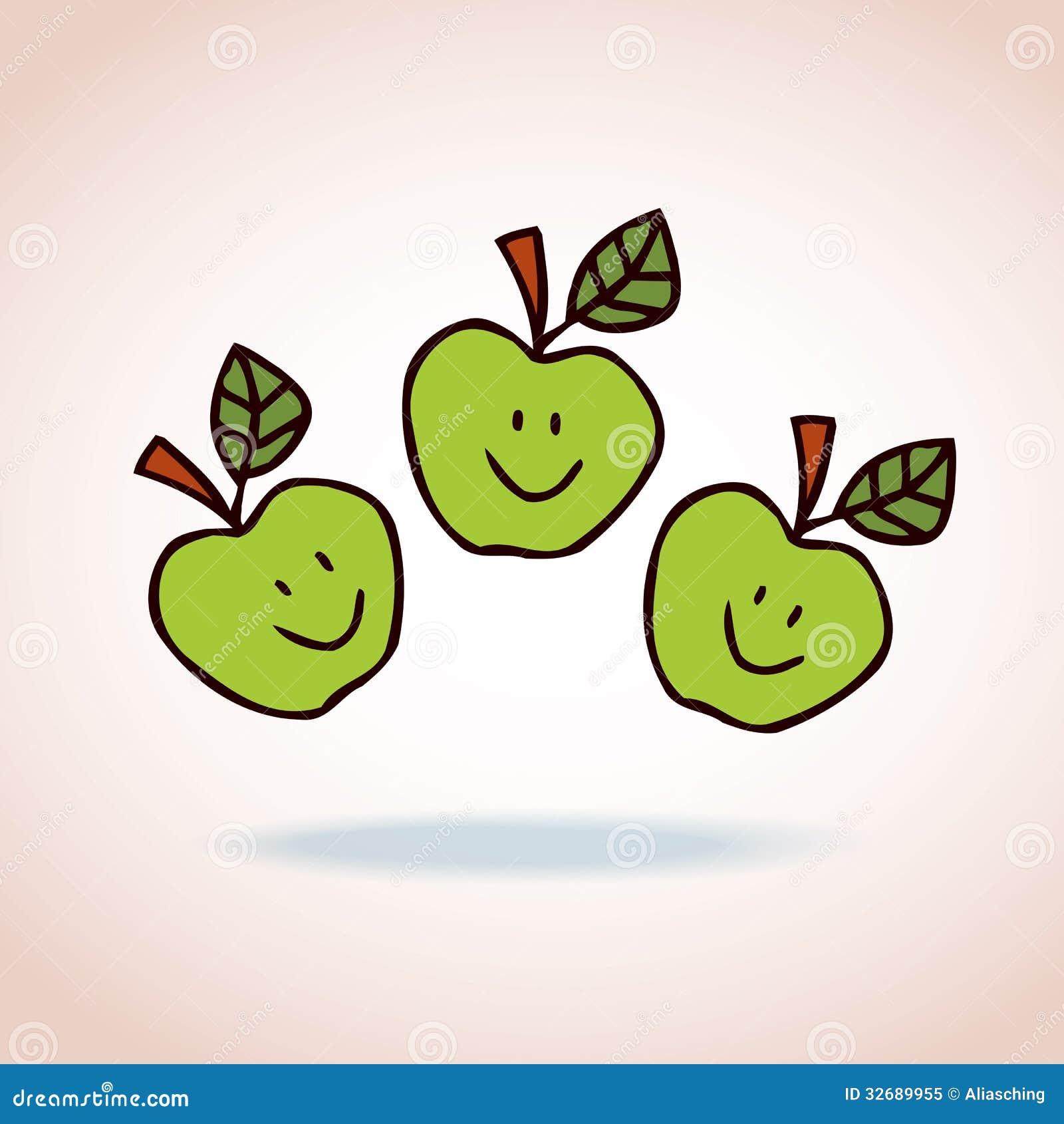 Happy Cartoon Apples Royalty Free Stock Photo - Image: 32689955
