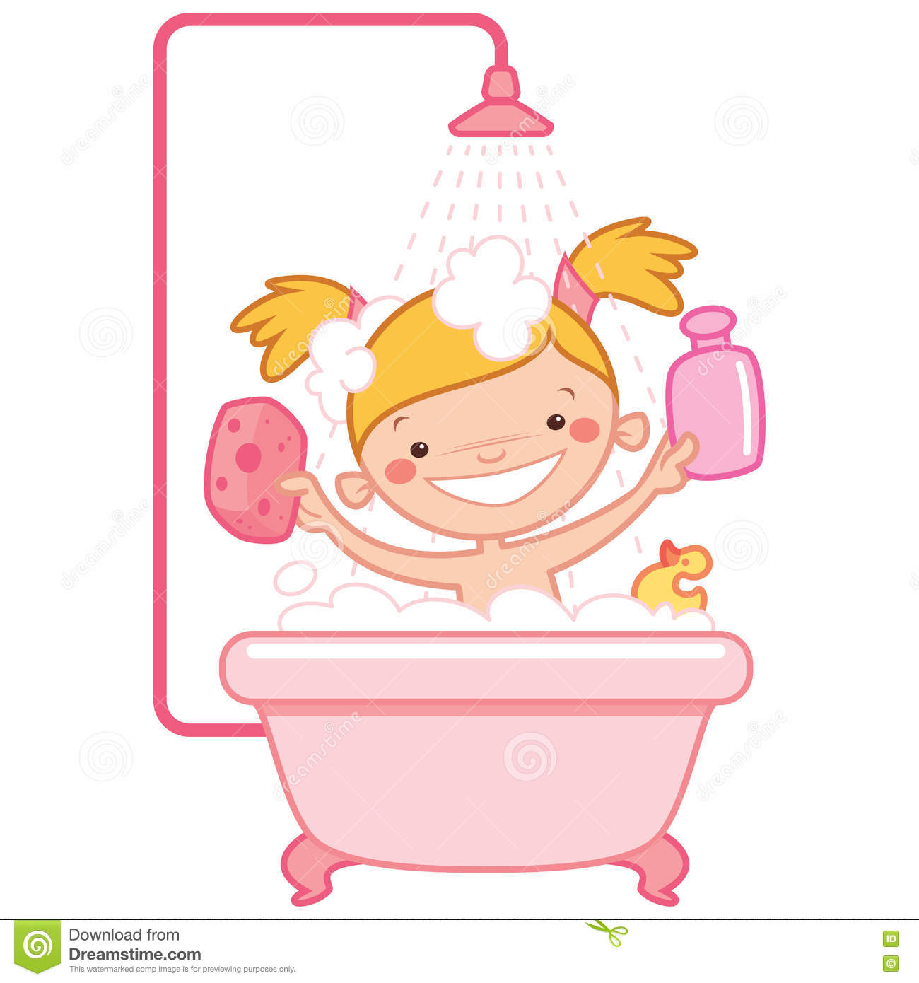 happy cartoon baby girl kid in pink bath tub stock. Black Bedroom Furniture Sets. Home Design Ideas