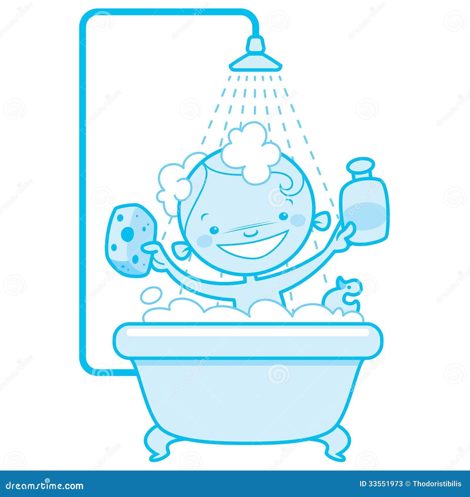 Happy Cartoon Baby Kid In Bath Tub Blue Version Stock Photos Image 33551973