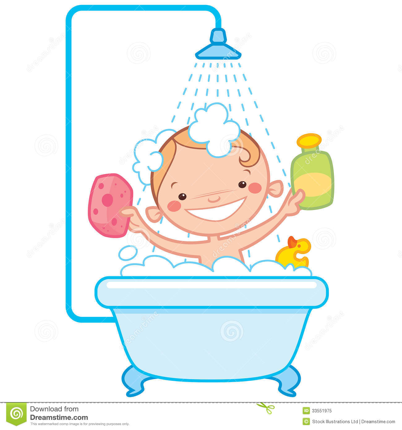 Happy Cartoon Baby Kid In Bath Tub Stock Vector ...
