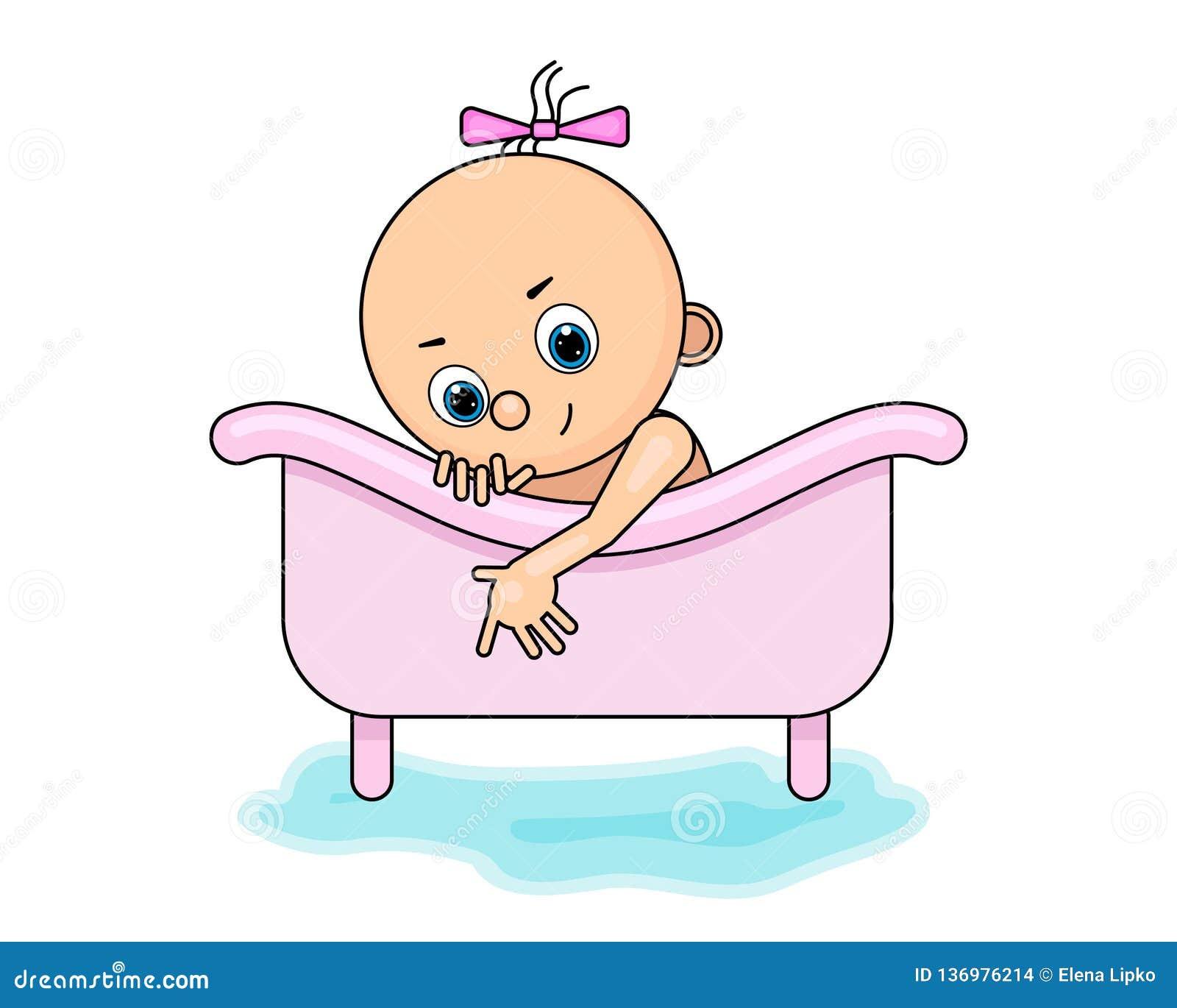 Happy cartoon baby kid having bath in a bathtub