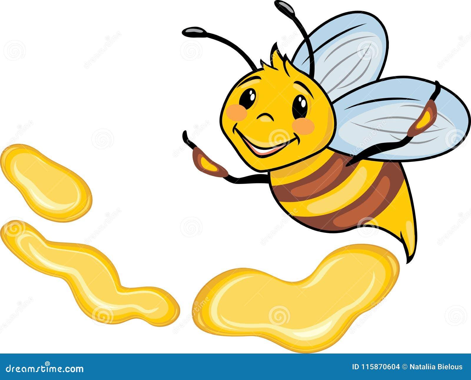 Happy Cartoon Bee And Honey Drops Stock Vector Illustration of