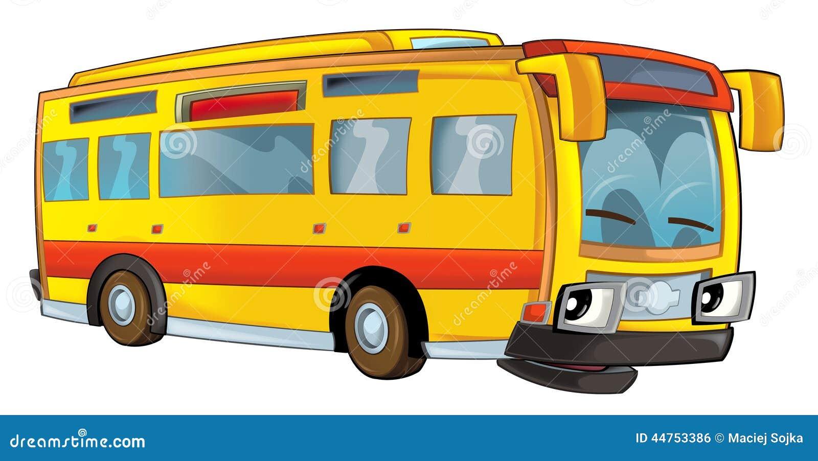 Happy Cartoon Bus Isolated Stock Illustration Image