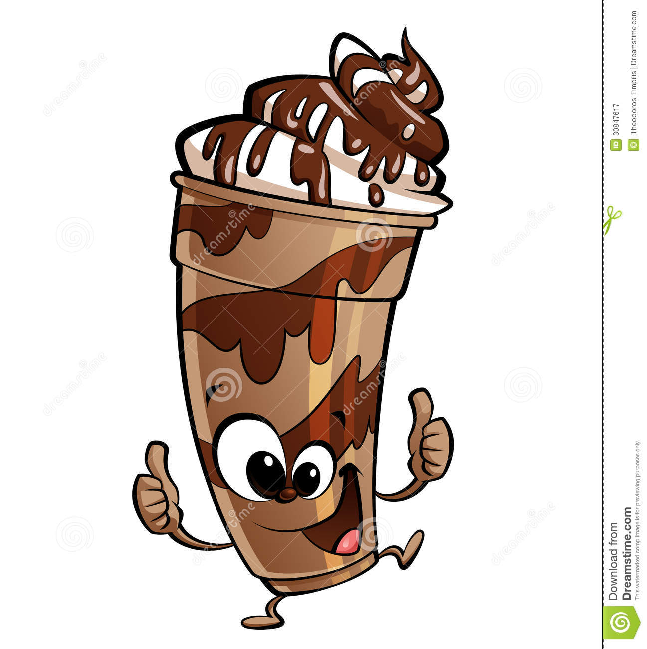 Happy Cartoon Chocolate Milkshake Making A Thumbs Up Gesture Royalty ...