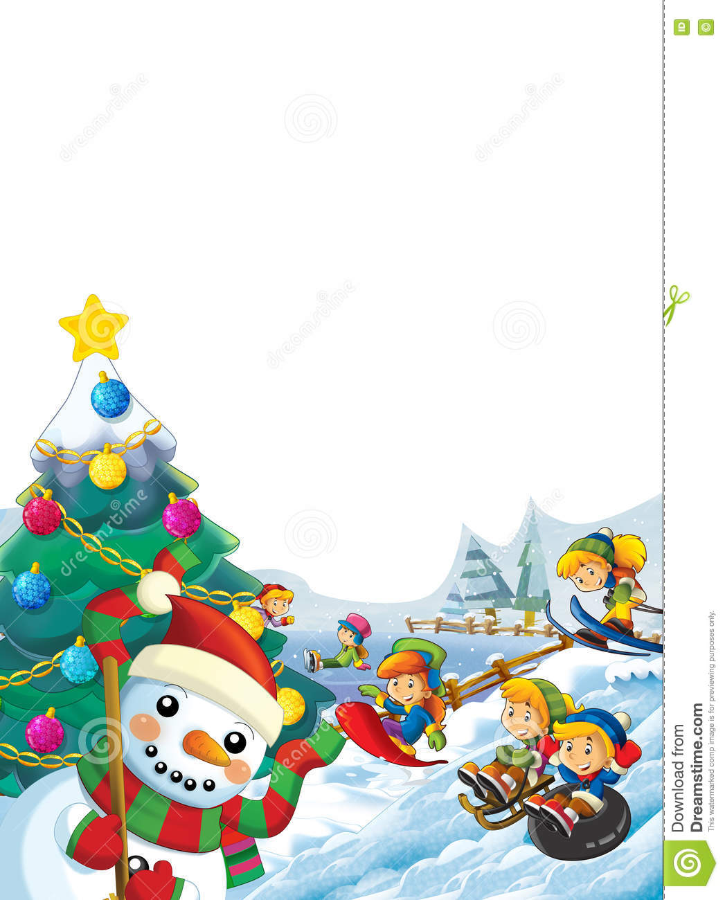 Happy Cartoon Christmas Scene With Happy Kids And Christmas Tree Stock Illustration Illustration Of Portrait Holidays 79367621 Choose from 290+ cartoon christmas tree graphic resources and download in the form of png, eps, ai or psd. dreamstime com
