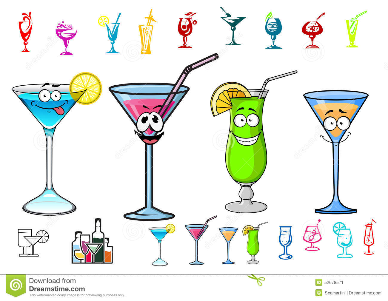 happy cartoon cocktails with straws characters stock vector image 52678571 Cross Country Running Clip Art Cross Country Running Clip Art