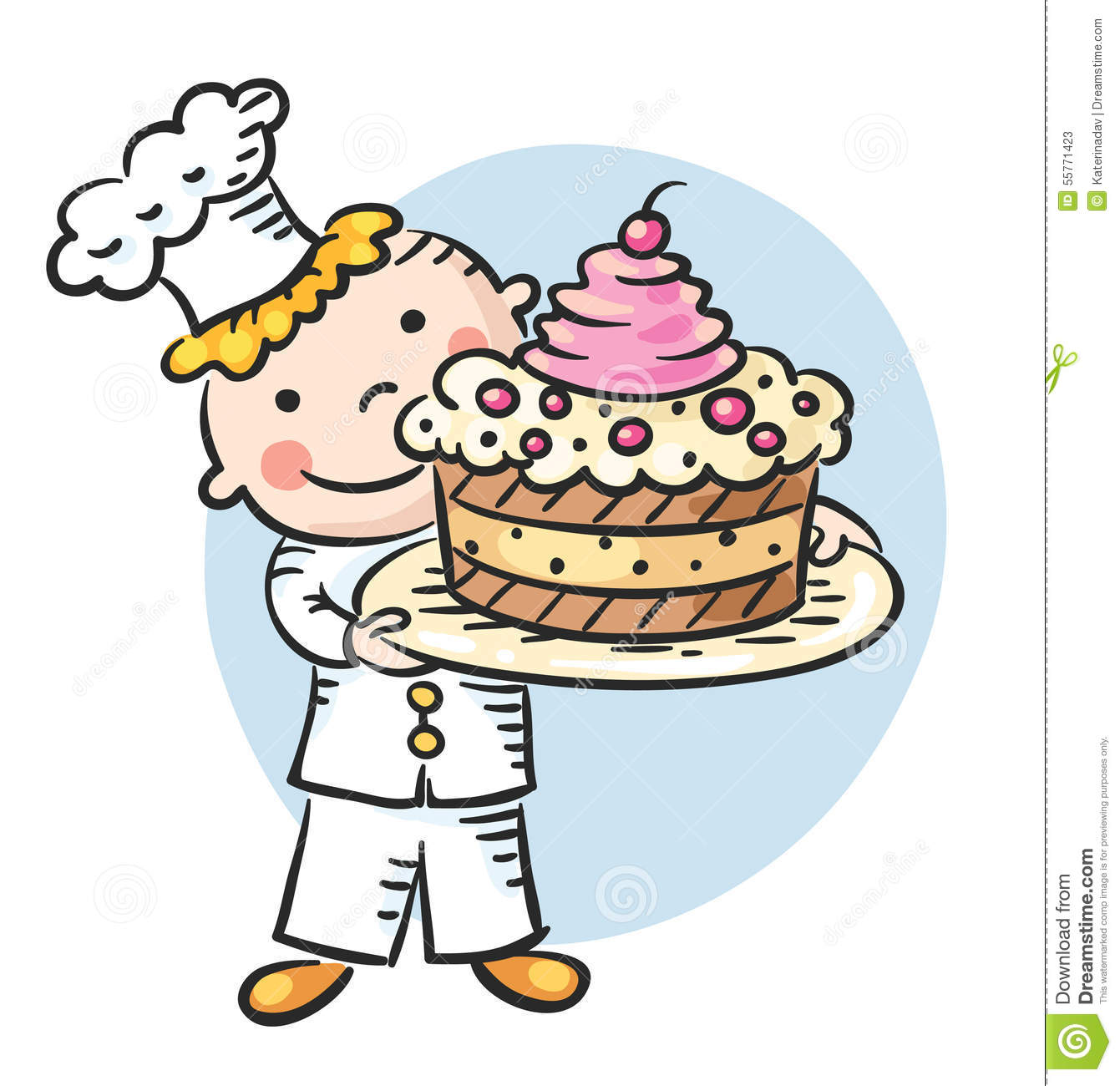 Happy Cartoon Cook With A Cake Stock Vector Image 55771423