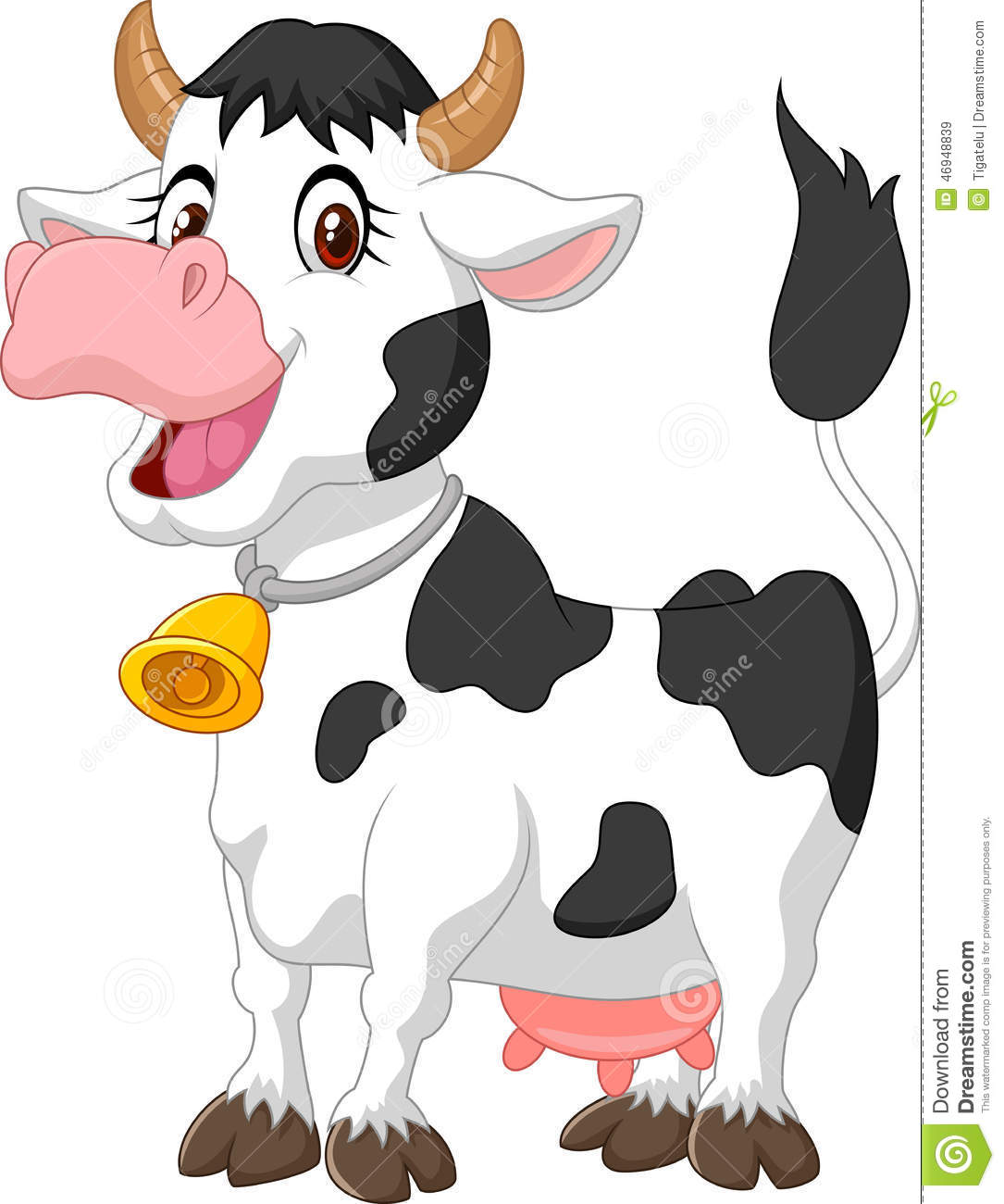 Happy Cartoon Cow Stock Vector. Illustration Of Cute