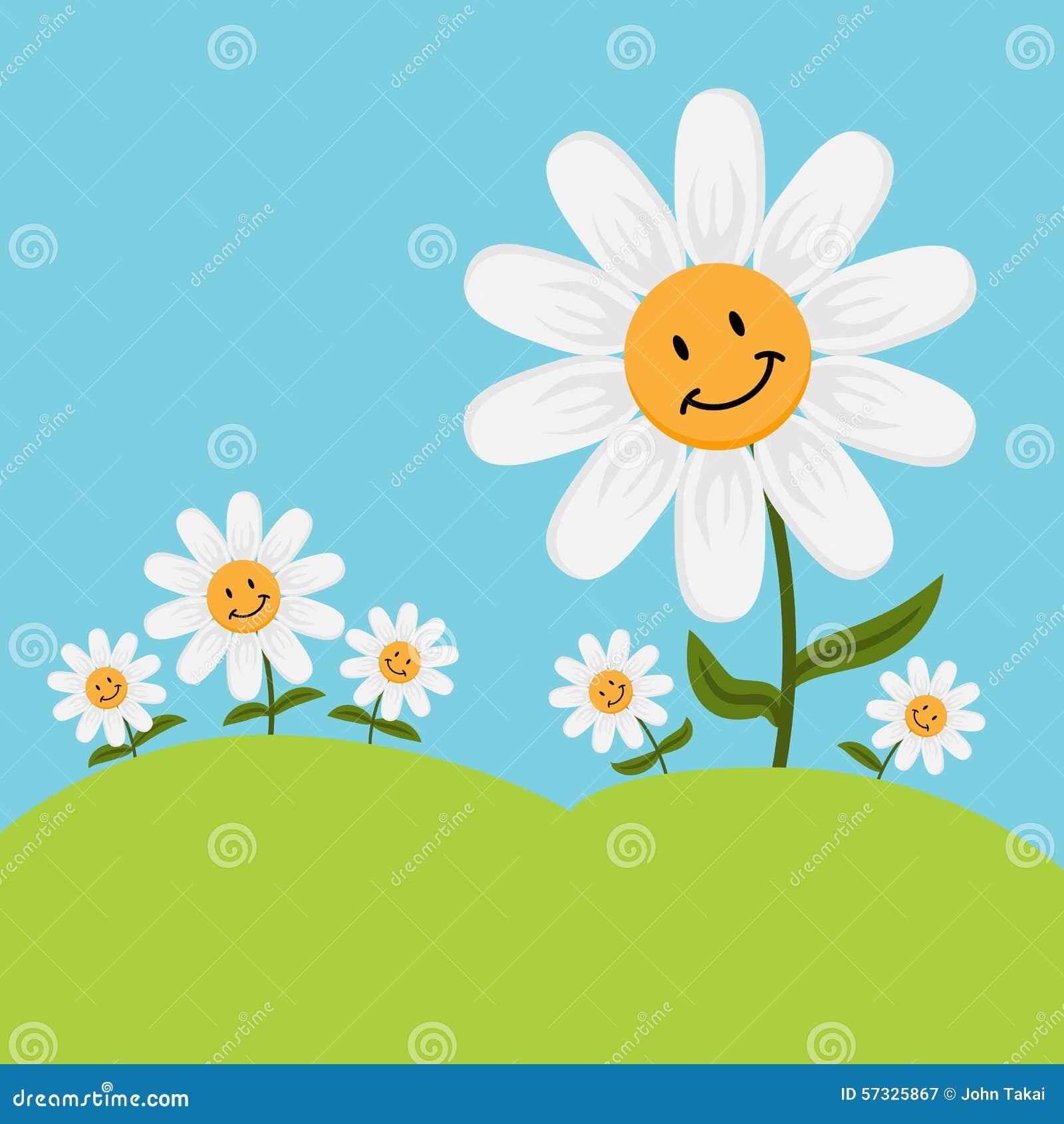 Happy cartoon daisy flowers stock vector illustration of white happy cartoon daisy flowers izmirmasajfo