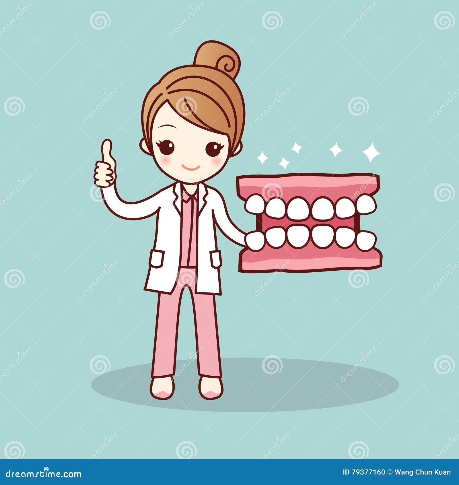 happy cartoon denture and dentist stock vector   image