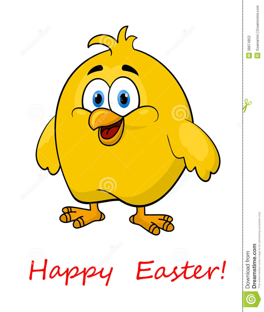 Happy Cartoon Easter Little Chick Stock Vector - Image ...