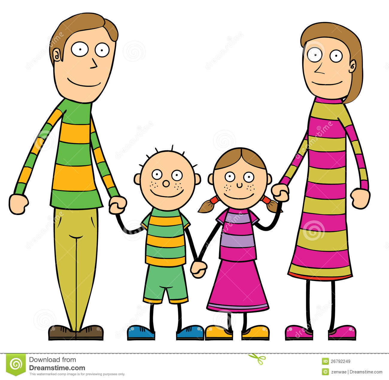 Happy cartoon family stock vector illustration of