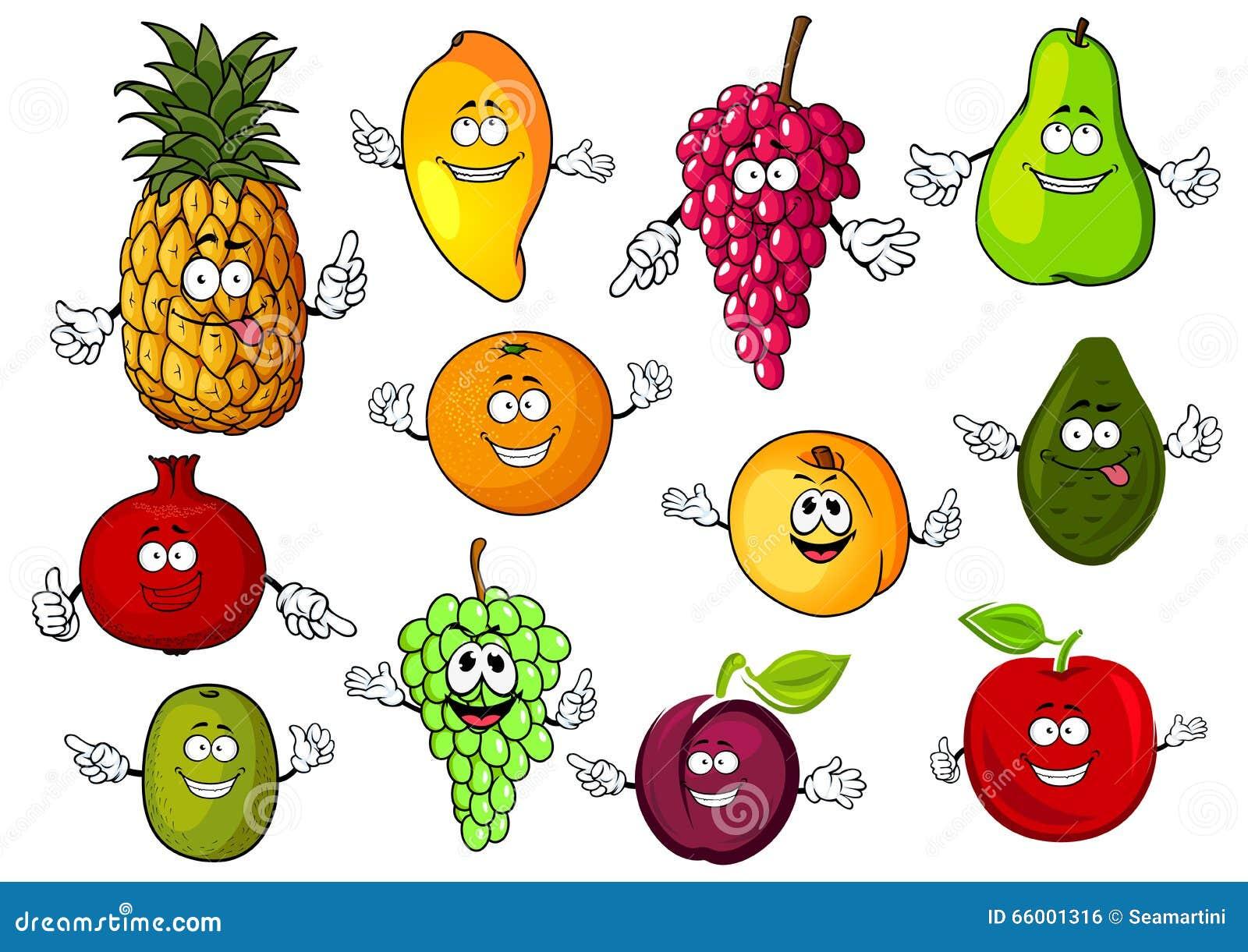Happy Cartoon Fresh Tropical Fruits Stock Vector Image