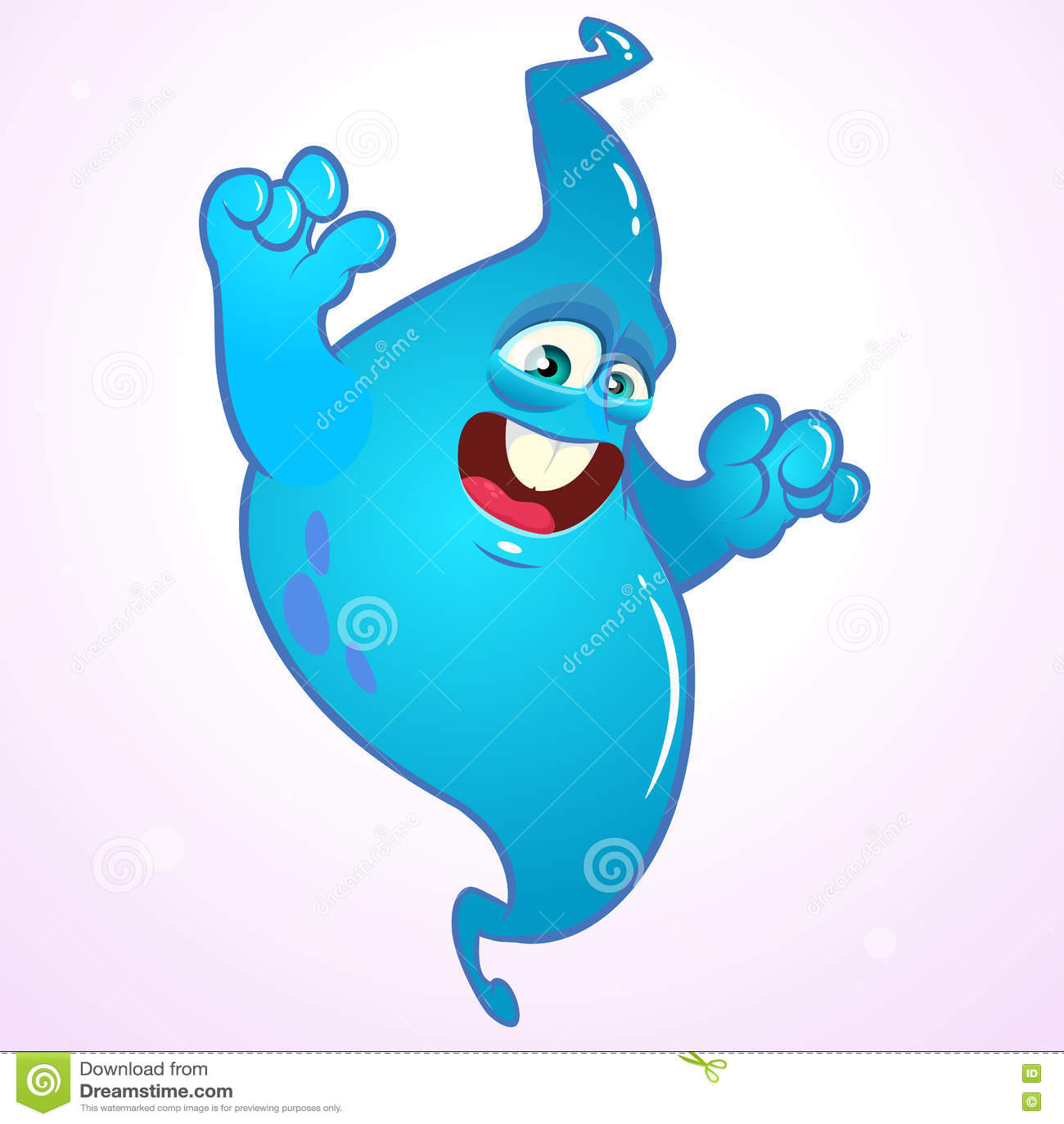 angry cartoon ghost halloween vector blue ghost stock vector