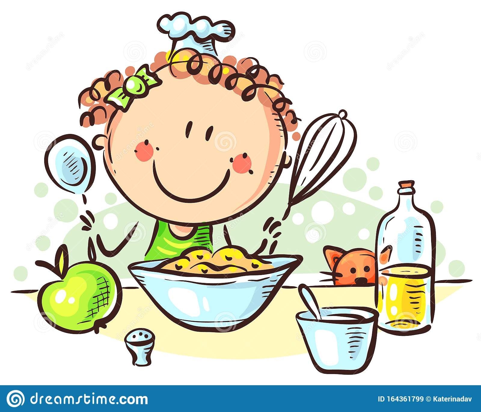 Happy Cartoon Girl Cooking Colorful Vector Illustration Stock Vector Illustration Of Clipart Dinner 164361799
