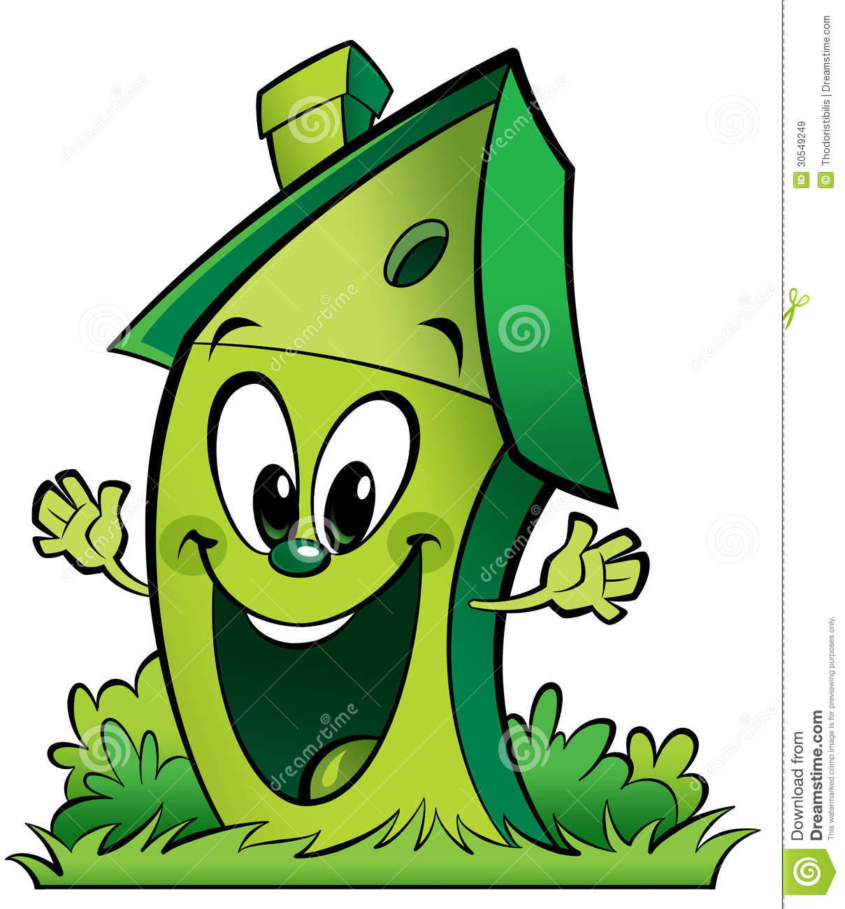 Happy Cartoon Green Ecological Home Royalty Free Stock