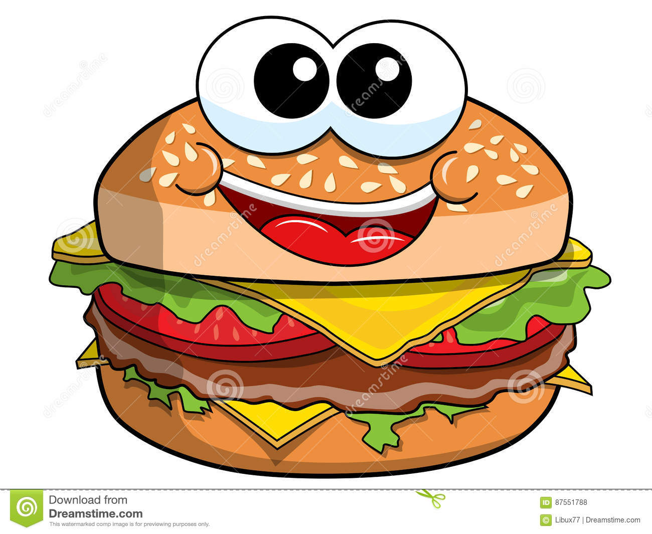 Hamburger Cartoon on Plain Border