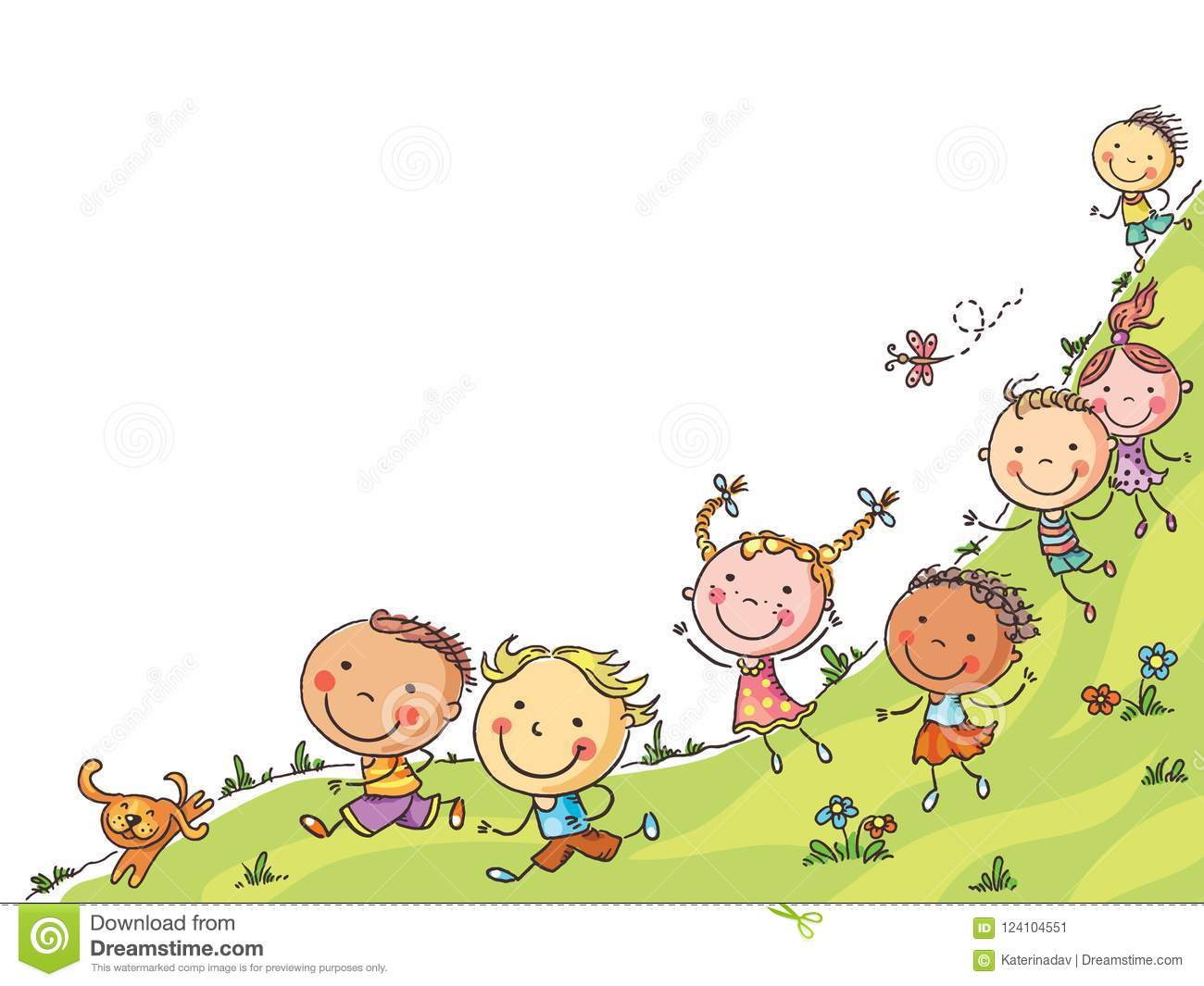 Happy cartoon kids running, vector frame with a copy space