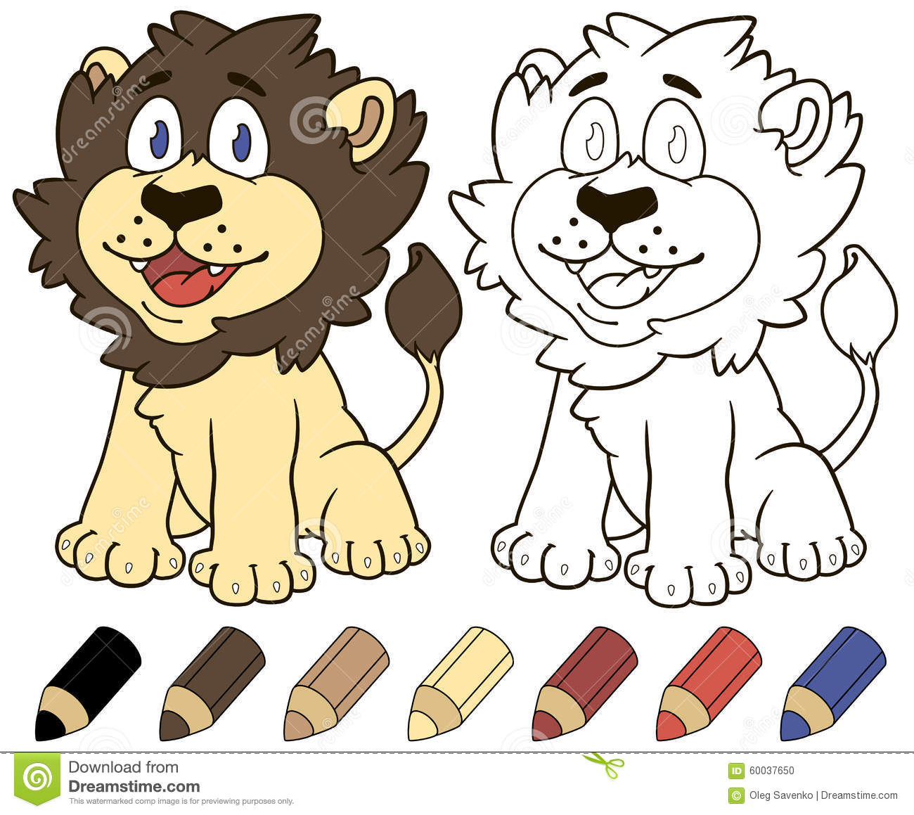 Royalty Free Vector Download Happy Cartoon Lion Coloring Book Illustration