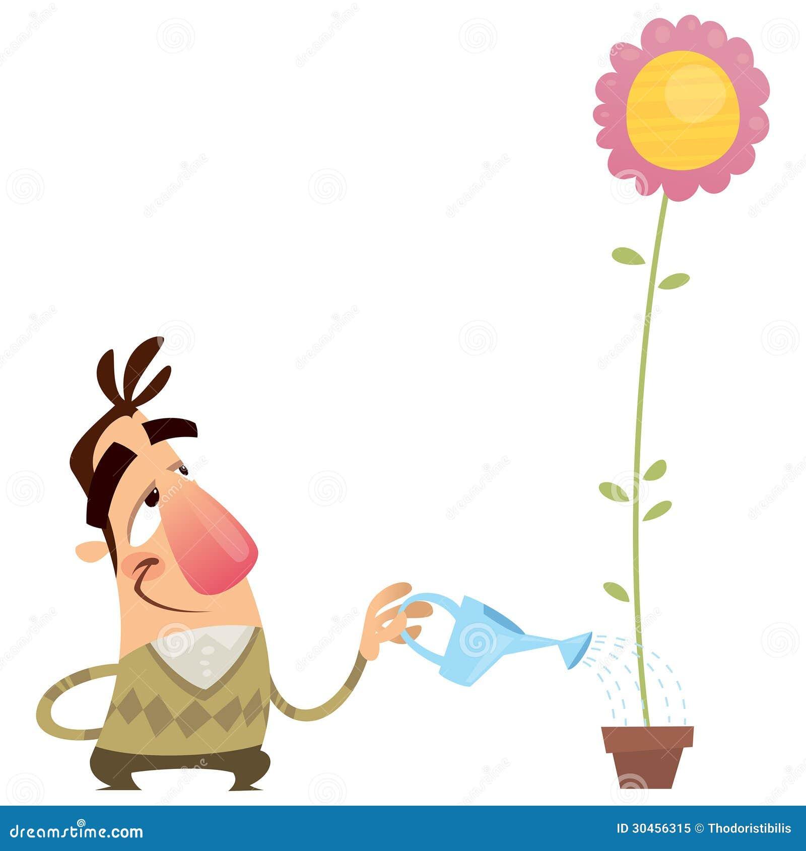 Happy Cartoon Man Gardener Watering Flower That Growing Fast Royalty ...