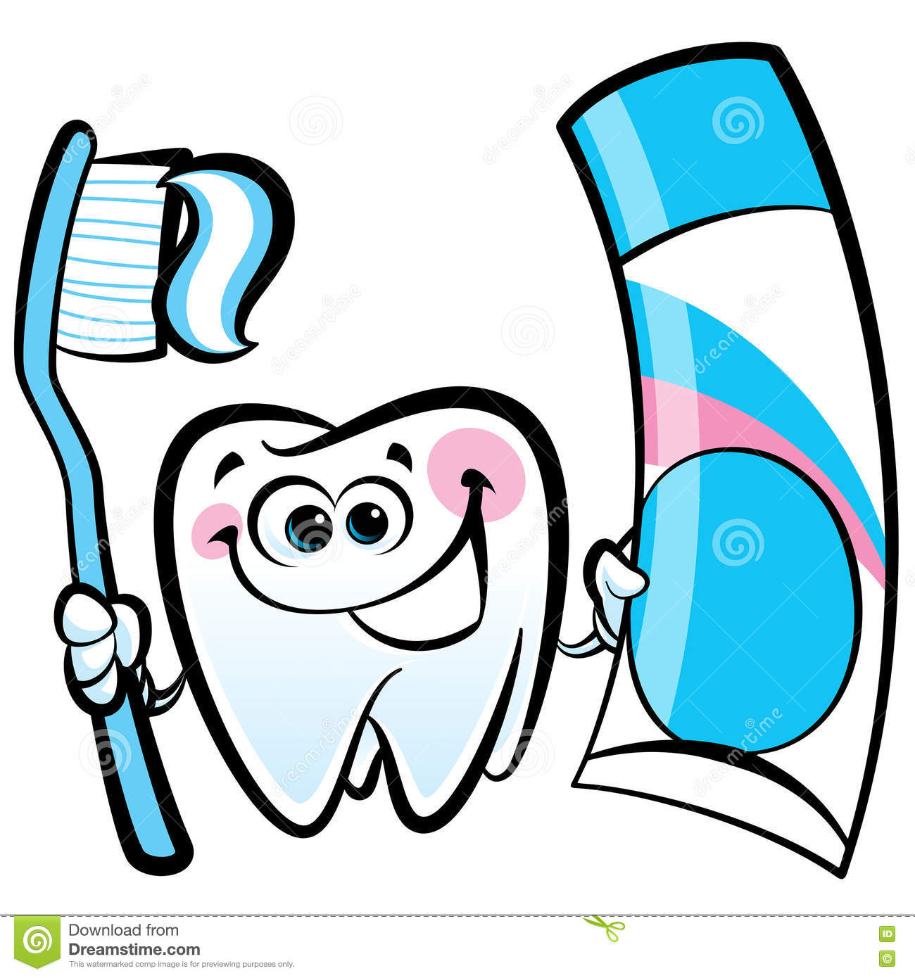 Toothpaste Cartoon Character Holding A Toothbrush Vector ...