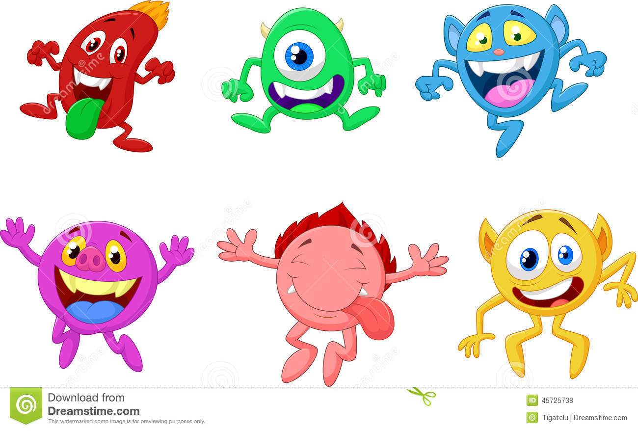 Happy Monster Illustration Happy Cartoon Monster ...