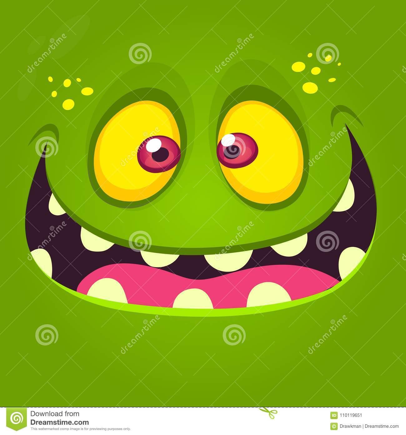 Happy cartoon monster face. Vector Halloween illustration of green excited monster or zombie