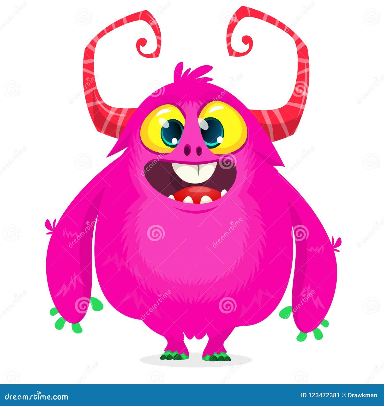 Happy Cartoon Monster Halloween Pink Furry Monster Big Collection