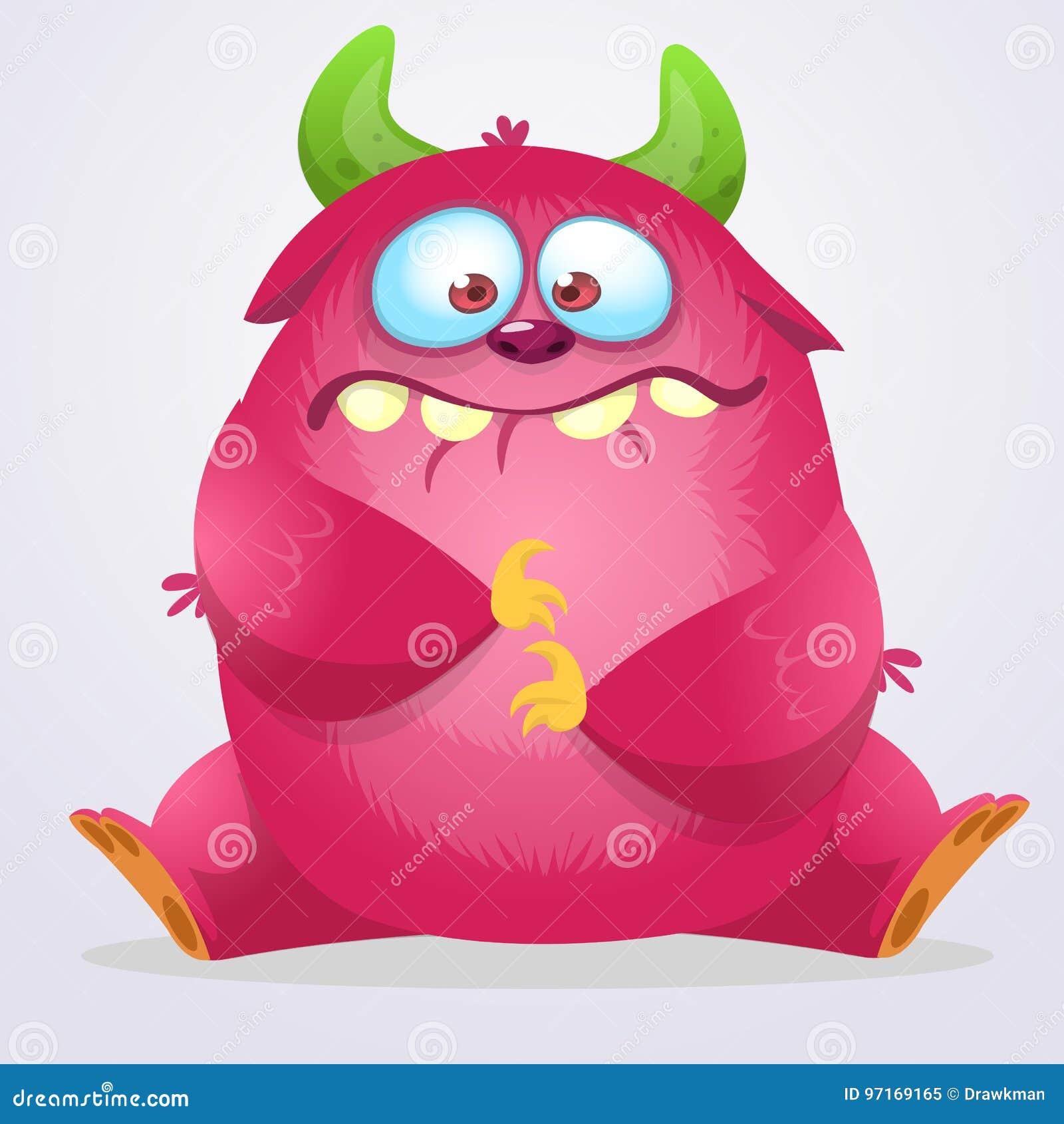Happy cartoon monster. Halloween pink furry monster. Big collection of cute monsters. Halloween character. Vector illustrations