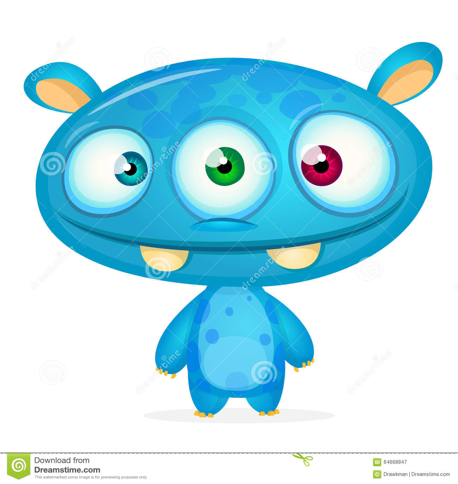 happy cartoon monster illustration 64668847 megapixl
