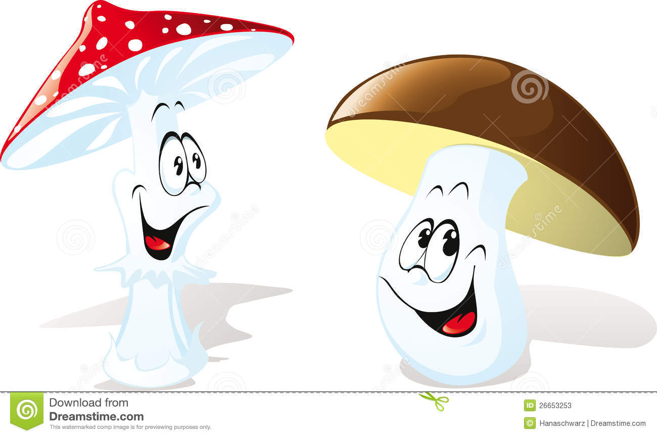 Happy Cartoon Mushrooms Stock Photos - Image: 26653253