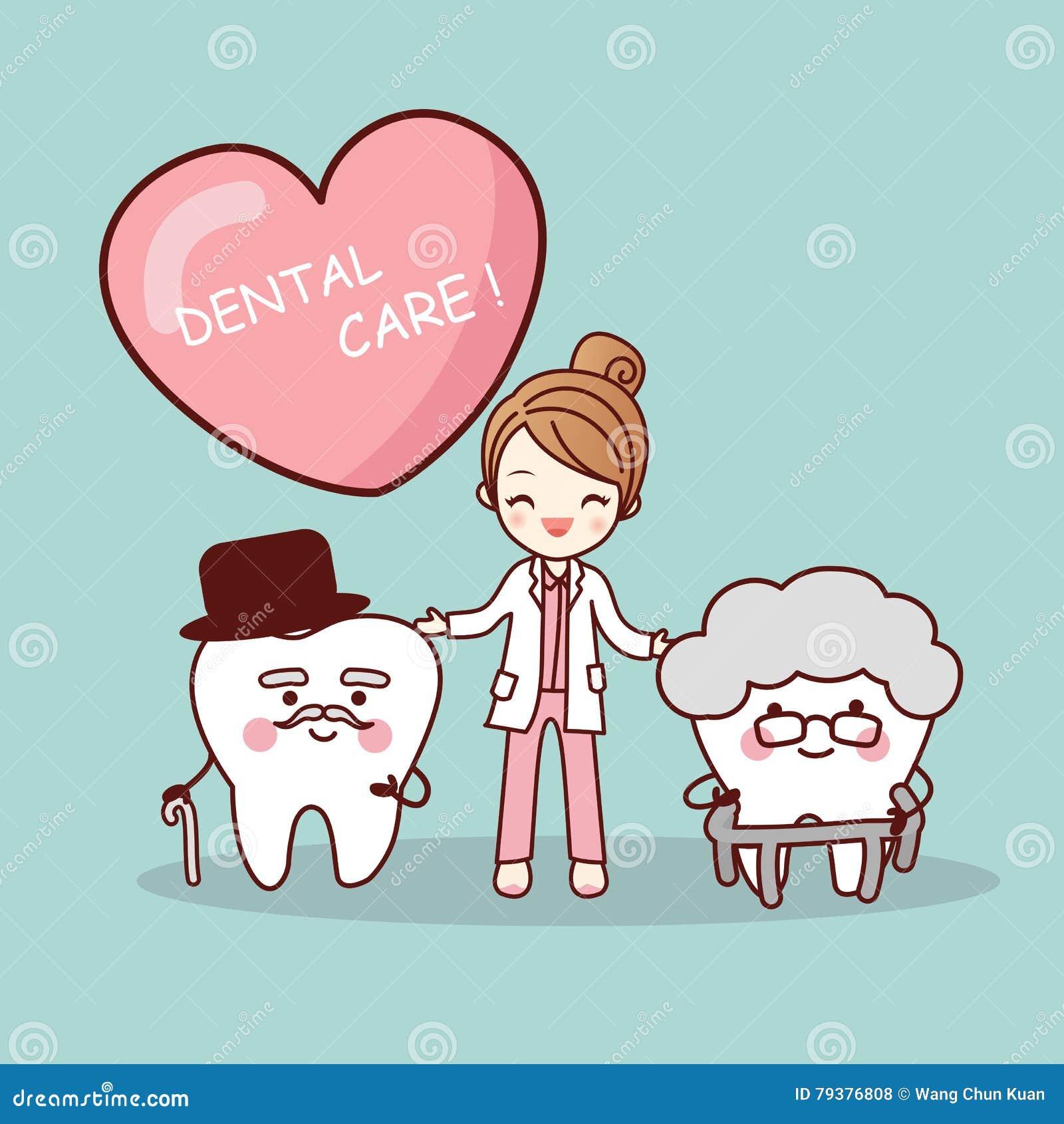 happy cartoon old tooth vector illustration